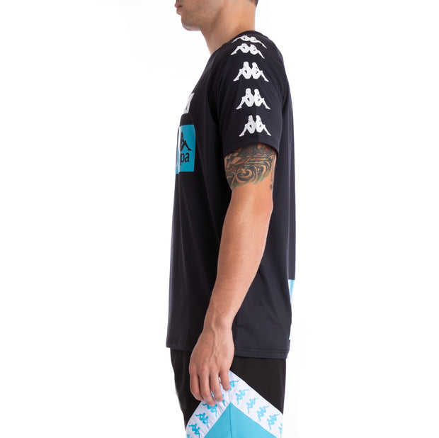 Kappa Authentic Bastil Black White Turquoise Jersey
