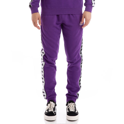 Kappa 222 Banda Alanz Alternating Banda Violet Black White Sweatpants