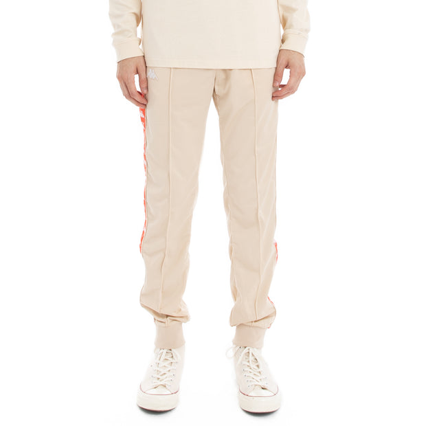 Kappa 222 Banda Rastoriazz Trackpants - Beige Red  Flame