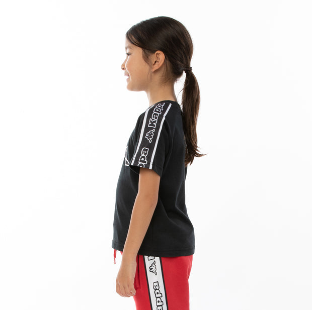 Kids Logo Tape Avirec T-Shirt - Black Black White
