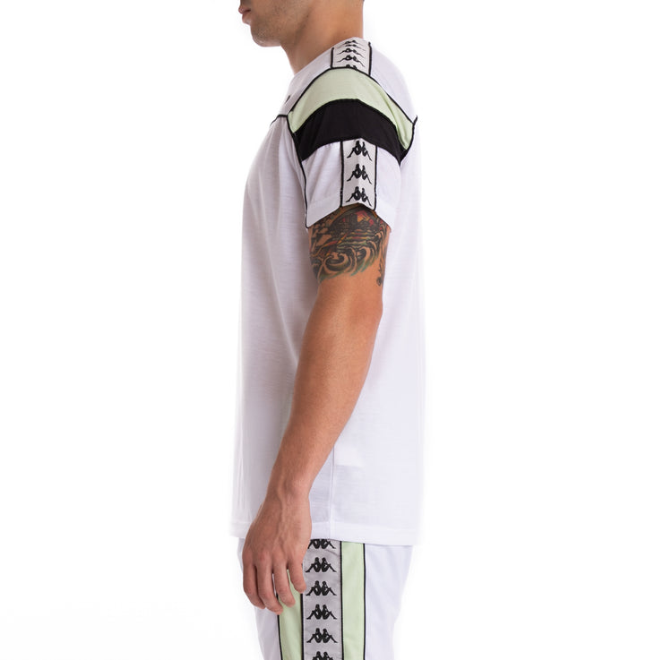 Kappa 222 Banda Arar White Grey Silver Green T-Shirt