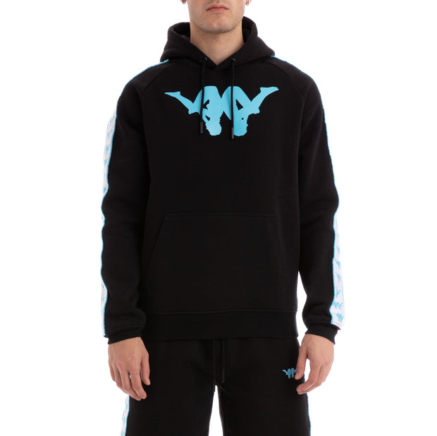 Kappa Authentic Baccello Up & Down Black White Turquoise Hoodie