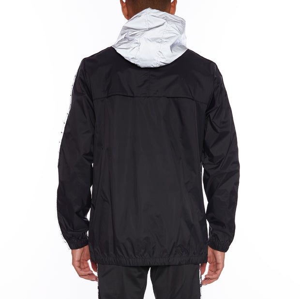 Kappa 222 Banda John Reflective Rain Jacket - Black Grey Reflective