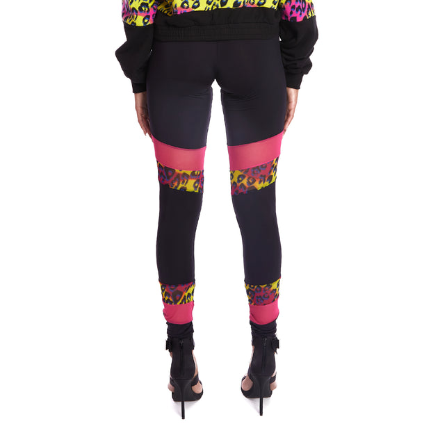 Kappa Authentic Delani Graphik Leggings - Black Graphic Cheetah