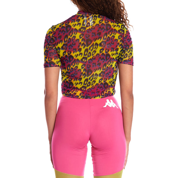 Kappa Authentic Dana Graphik Mesh Top - Fuchsia Graphic Cheetah