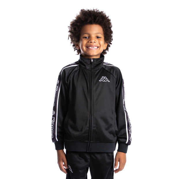 Kids Logo Tape Artem Track Jacket - Black Black White
