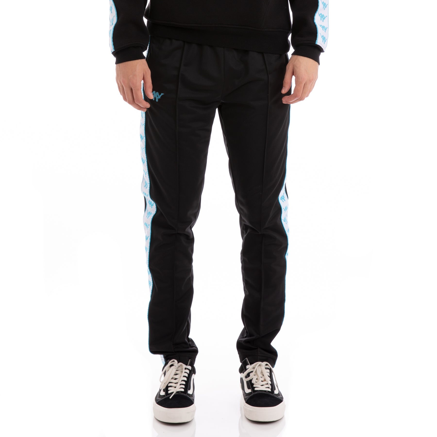 b87ba8b9f8 Authentic Bascile Up & Down Black White Turquoise Trackpants – Kappa USA