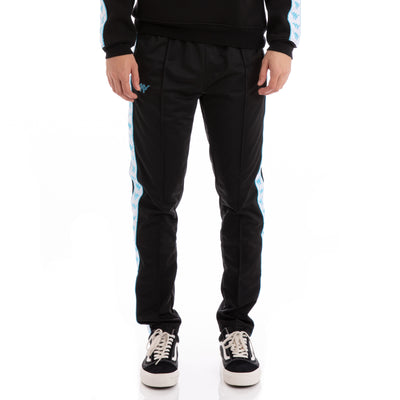 Kappa Authentic Bascile Snaps Up & Down Black White Turquoise Trackpants