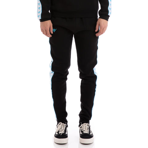 Kappa Authentic Butspad Up & Down Black White Turquoise Sweatpants