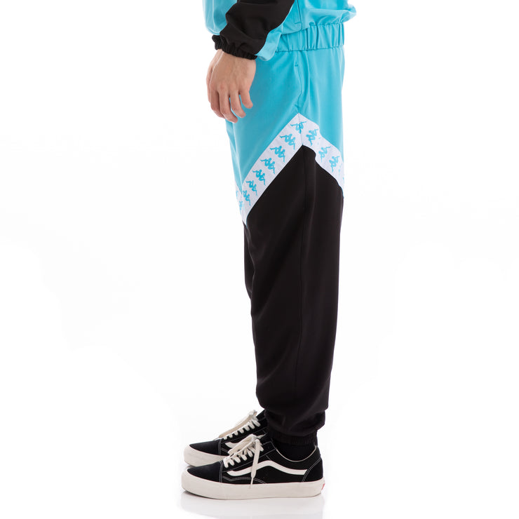 Kappa Authentic Balmar Black Turquoise White Trackpants