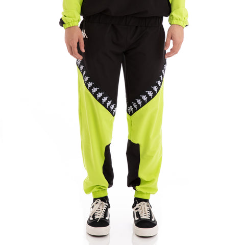 Kappa Authentic Balmar Green Lime Black White Trackpants