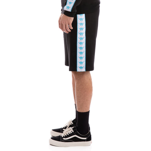 Kappa 222 Banda Lith Up & Down Black White Turquoise Shorts