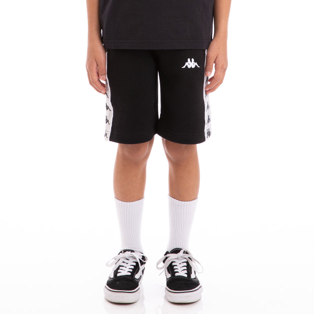 Kappa Kids 222 Banda Marvz Black Greysilver White Sweat Shorts