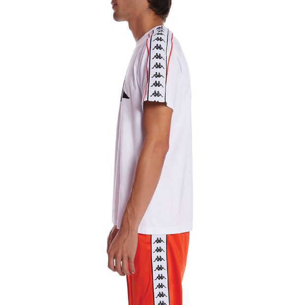 Kappa Authentic Dobrev T-Shirt - White Orange Flame