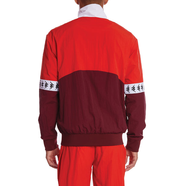 Kappa 222 Banda Darren Full Zip Jacket - Red Dahlia Orange Flame White