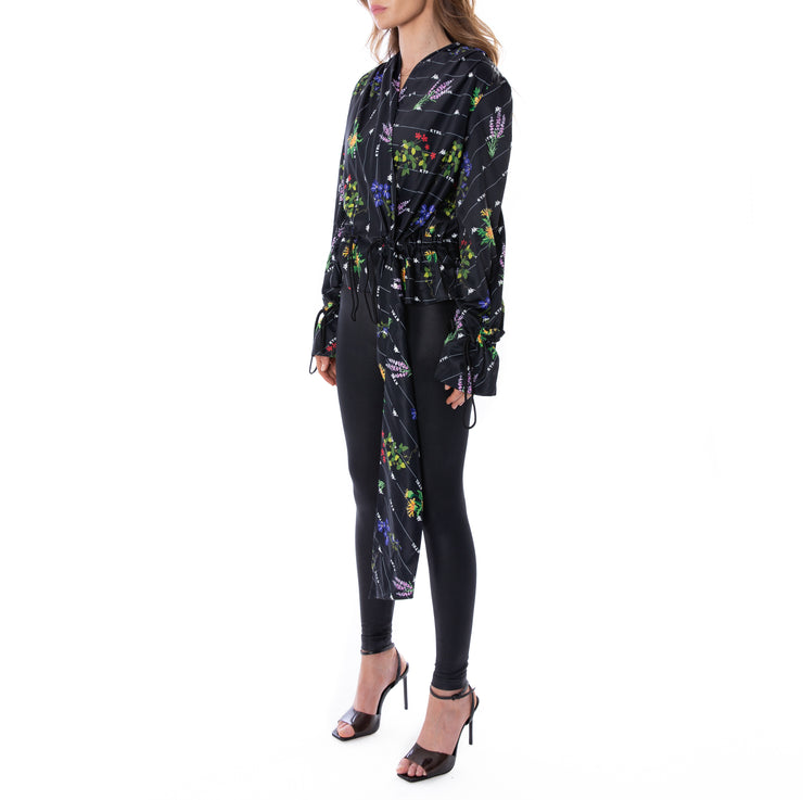 Kontroll Wrap Print Shirt Black Fancy Flowers