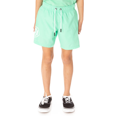 Kids Authentic Pop Emay Swim Shorts - Green Spring White