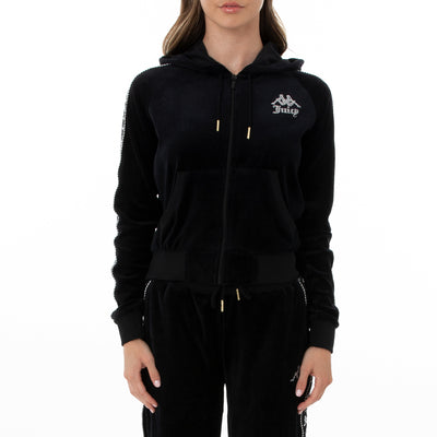 Authentic Juicy Couture Egeo Velour Hoodie - Black Smoke