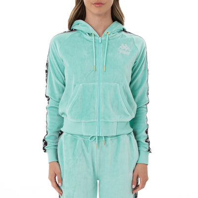 Authentic Juicy Couture Egeo Velour Hoodie - Green Lt Ocean