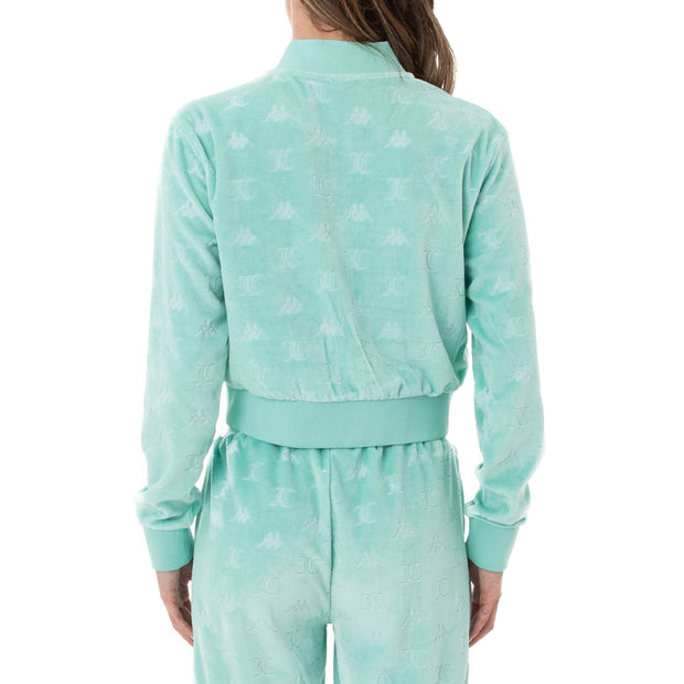 Authentic Juicy Couture Elasi Velour Jacket - Green Lt Ocean