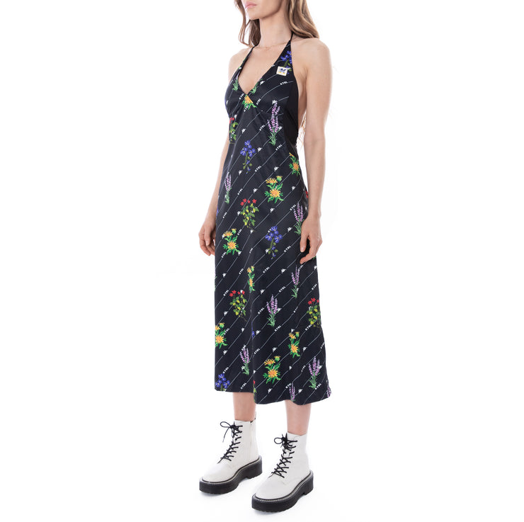 Kontroll Midi Halter Dress Black Fancy Flowers