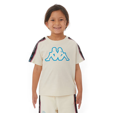 Kappa Kids Logo Tape Avirec 2 T-Shirt - Cream