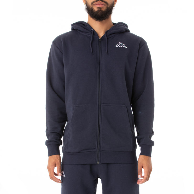 Logo Fleece Jackok Full Zip Jacket - Navy Blue