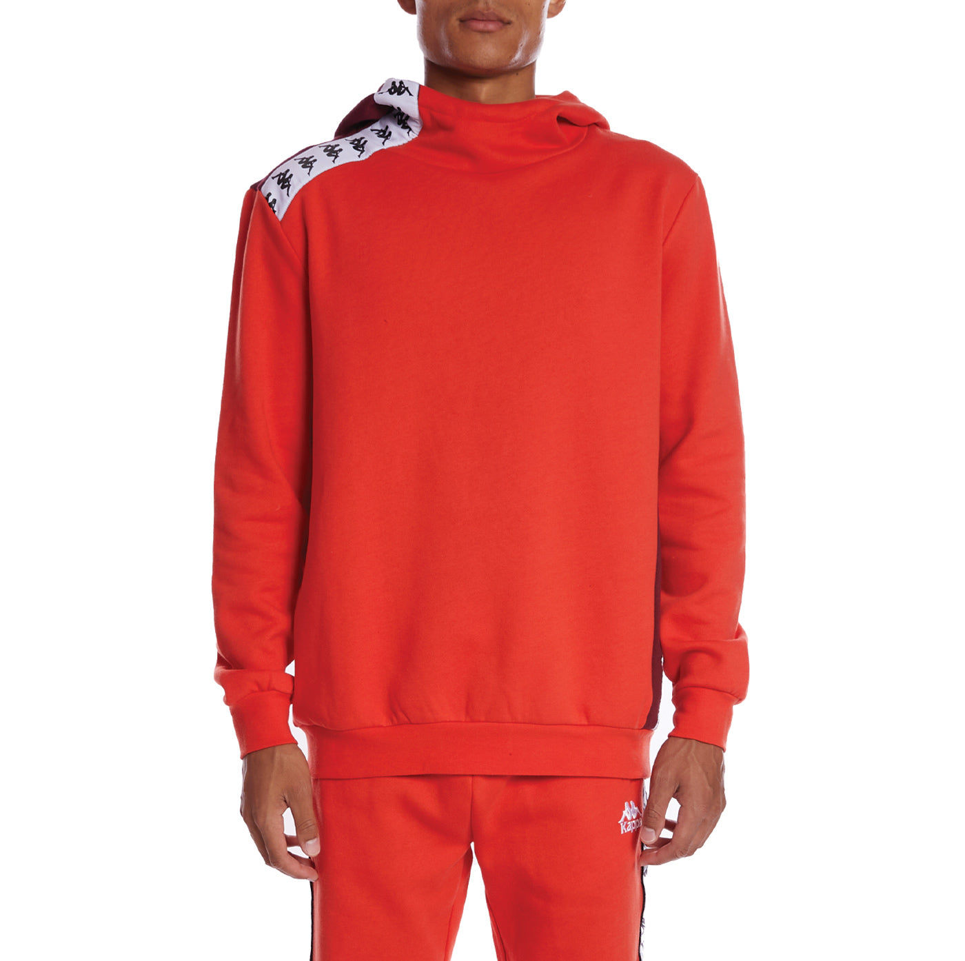 Kappa 222 Banda Delov 2 Hoodie - Orange Flame Red Dahlia White