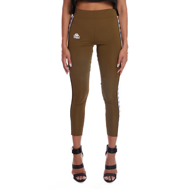 Kappa 222 Banda Barrio Leggings - Green Oliva White