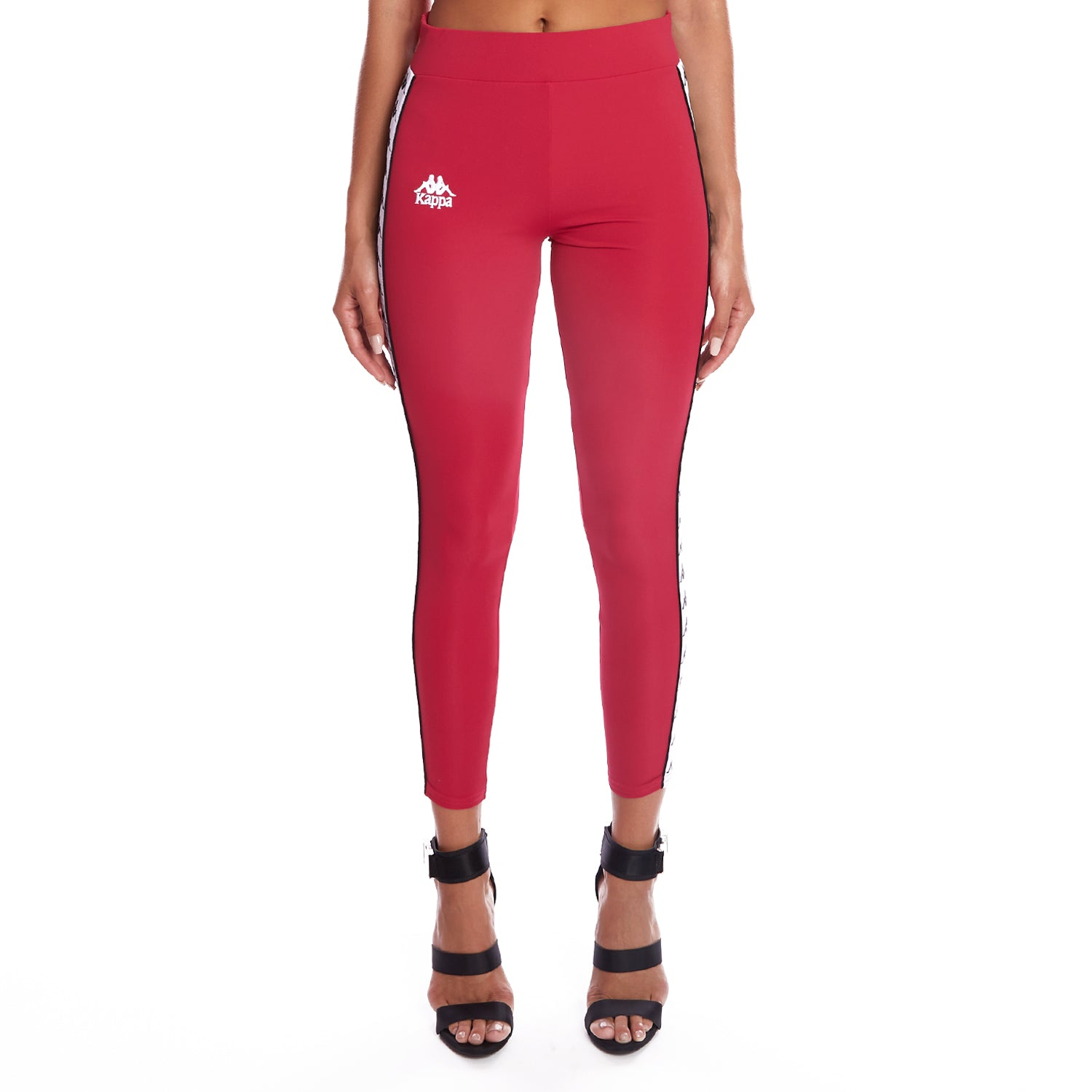 Kappa 222 Banda Barrio Leggings - Red Cyclamen White
