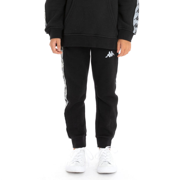 Kappa Kids 222 Banda Dariis 2 Reflective Sweatpants - Black Grey Reflective