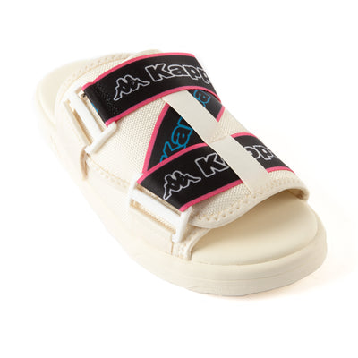 Logo Tape Kalpi Sandals - Cream Blue Turkis
