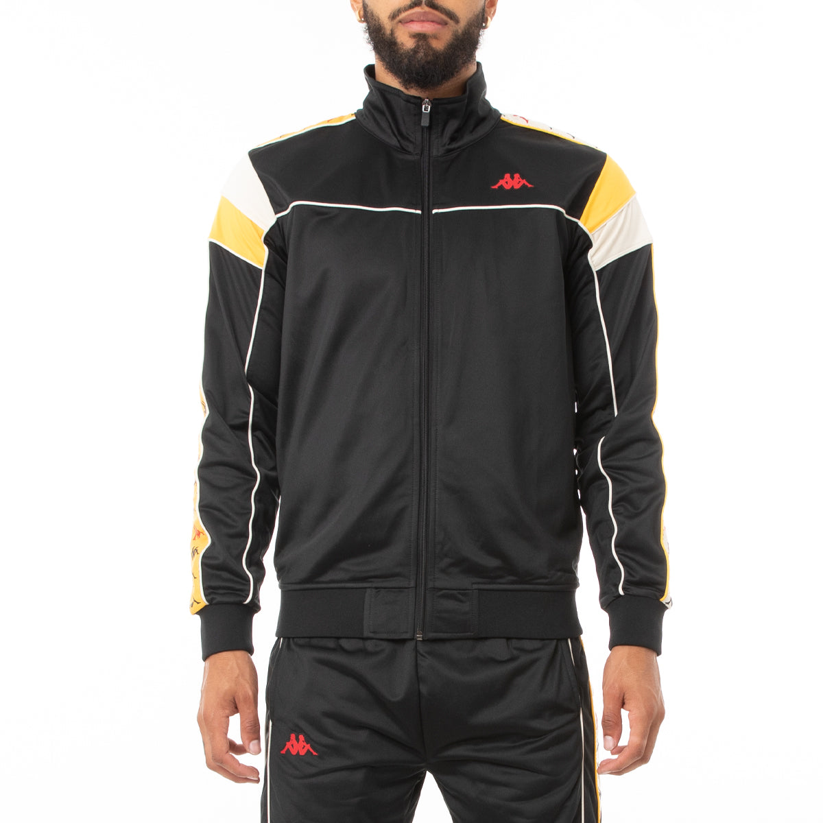 Kappa 222 Banda Difo Track Jacket - Black Red Yellow Gold