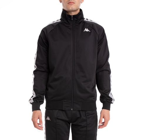 Kappa 222 Banda Anniston Black Grey Silver White Track Jacket