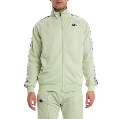 Kappa 222 Banda Anniston Green Lt Grey Silver Black Track Jacket
