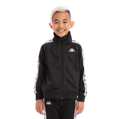 Kappa Kids 222 Banda Anniston Black Greysilver White Track Jacket