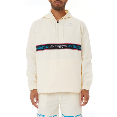Kappa Logo Tape Cooper Half Zip Jacket - Cream