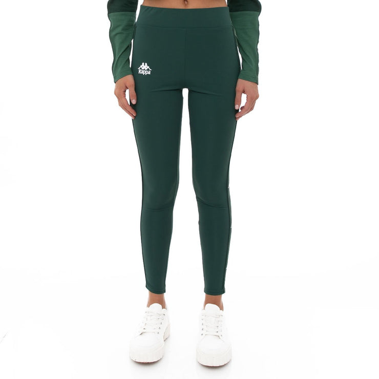 Kappa 222 Banda Bartes Leggings - Dark Green White