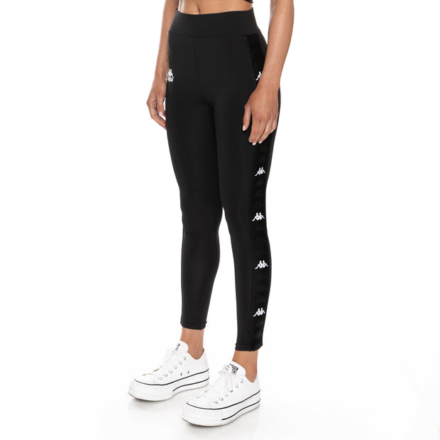 Kappa 222 Banda Bartes Leggings - Black White