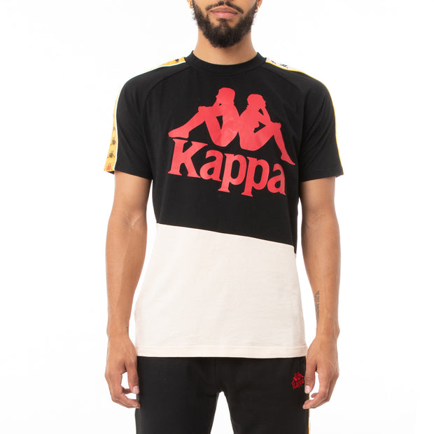 Kappa 222 Banda Drust T-Shirt - Black Red Gold