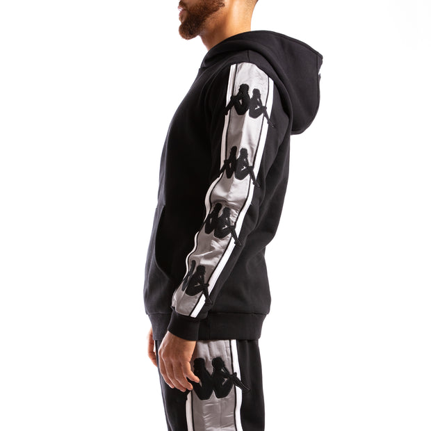 Kappa Authentic Bzaliab Black Grey Silver Hoodie