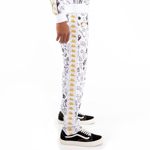 Kappa 222 Banda Astoria Graphic Slim White Black Gold Track Pants