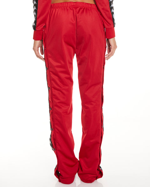 Kappa 222 Banda Wastoria Snaps Red Dk Black Pants - Back