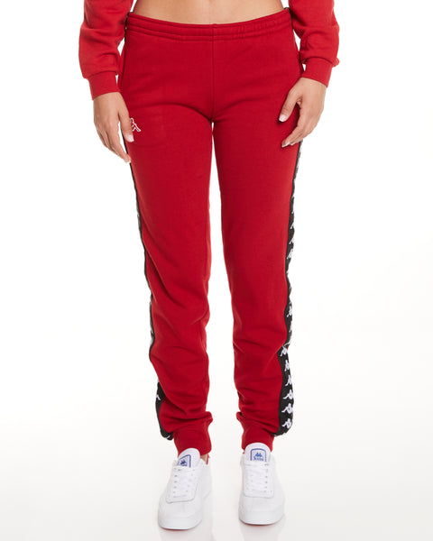 Kappa 222 Banda Aviol Slim Red Dk Black Pants - Front