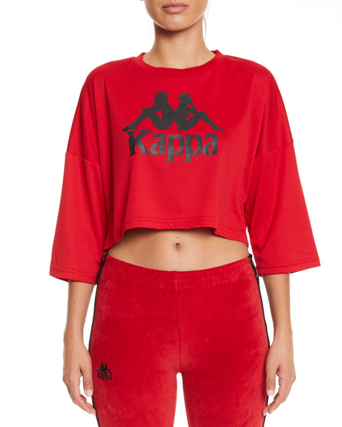 Kappa Authentic Anak Red Dk Crop Top - Front