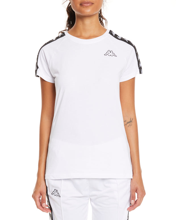 Kappa 222 Banda Woen White Black Top - Front