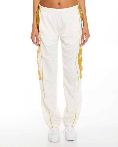 Kappa 222 Banda 10 Arvis Snaps White Yellow Gold Pants - Front