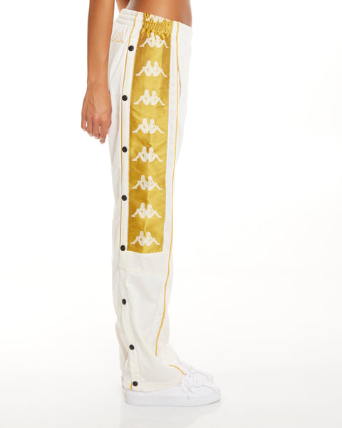 Kappa 222 Banda 10 Arvis Snaps White Yellow Gold Pants - Side