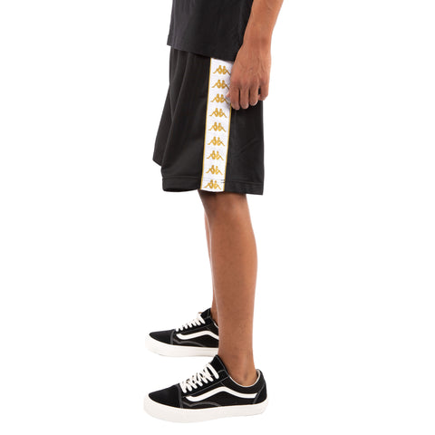 Kappa 222 Banda Treadwell Black White Gold Shorts