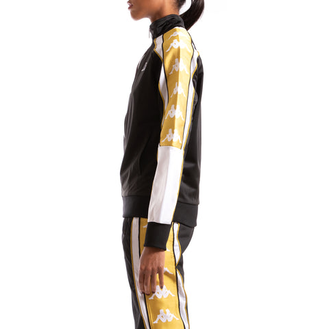 Kappa 222 Banda 10 Anay Black White Yellow Gold Jacket